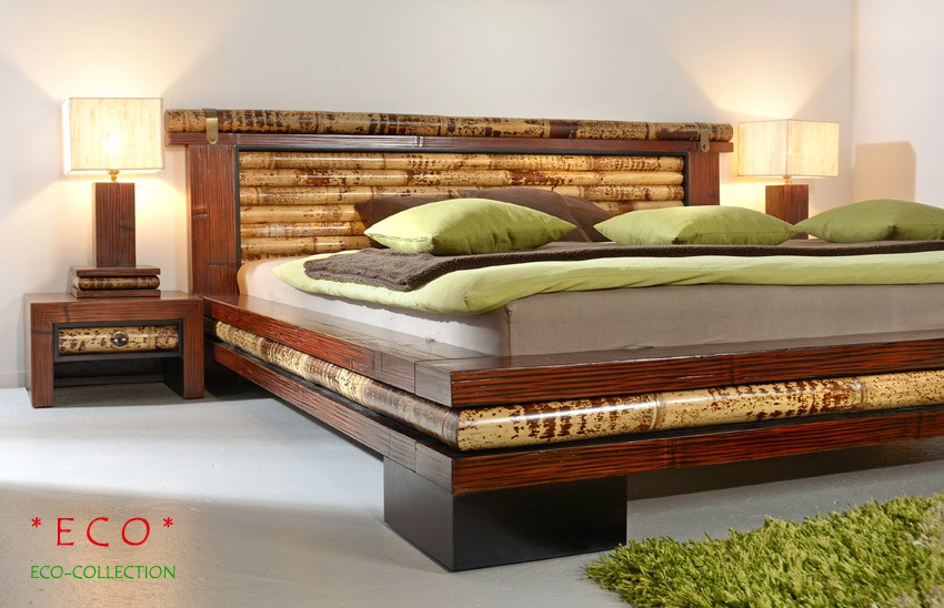 bambusbett mit wassermatratze midas24. Black Bedroom Furniture Sets. Home Design Ideas